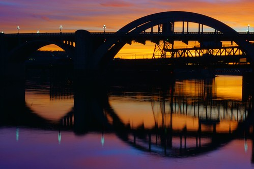 sunset bridge mississippiriver saintpaul minnesota symmetry seeingdouble reflection purple gold colorsstrong circle arches water sky clouds fv10