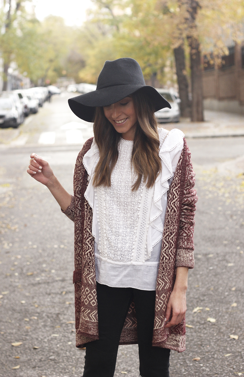 white blouse cardigan black jeans hat heels mdm fashion casual outfit10