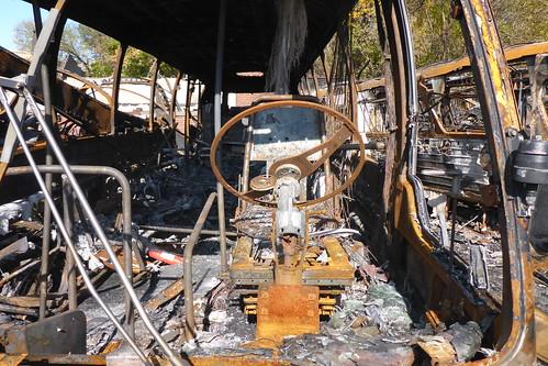 Bus museum fire damage
