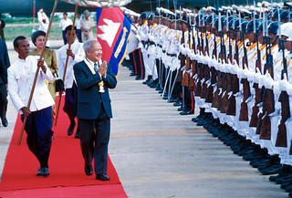 Prince Sihanouk, the former King of Cambodia, returning to Cambodia