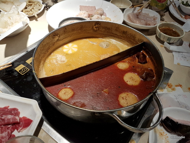 Congealed soup in pot