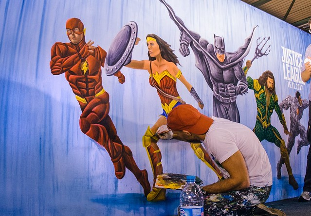Justice League Ben Heine Live Art Performance for Movie Official Release (Warner Bros) - Made at Facts Comic Con (Flanders Expo) and Exhibited at Kinepolis Belgium (Antwerpen and Brussels)
