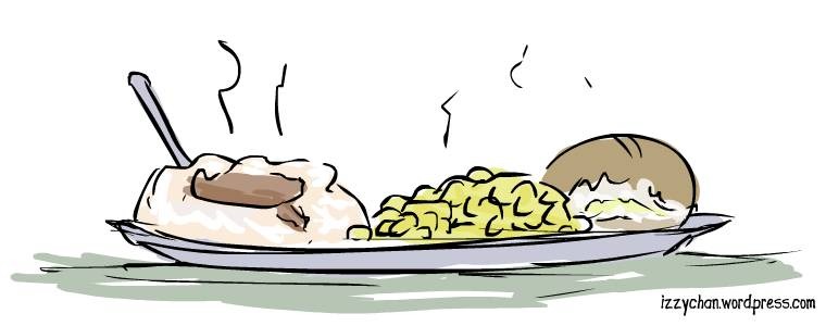 mashed potatoes and gravy, corn, bread roll