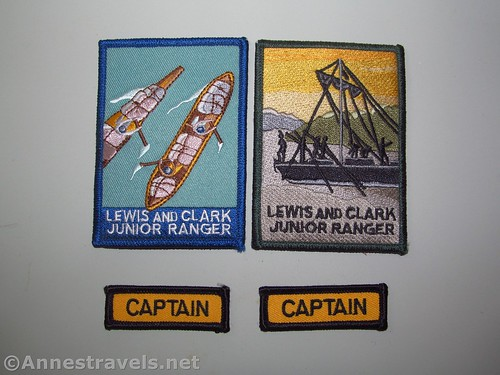 The patches we earned as part of the Junior Ranger Program at Fort Clatsop / Lewis & Clark National Historical Park, Oregon
