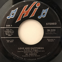 AL GREEN:LOVE AND HAPPINESS(LABEL SIDE-A)