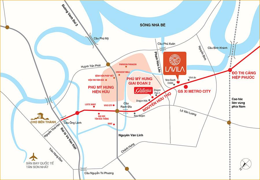 Vị trí dự án Lavila tại khu Nam Sài Gòn.