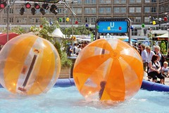 Zorbing in the city centre