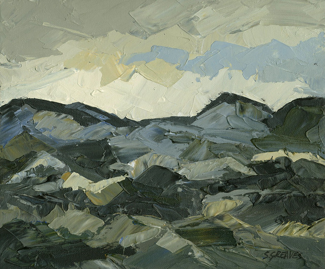 Snowdonia Welsh Mountains - Original Landscape Painting by Steve Greaves