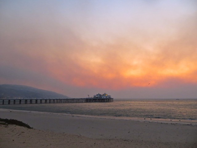 wildfire sunrise at malibu pier