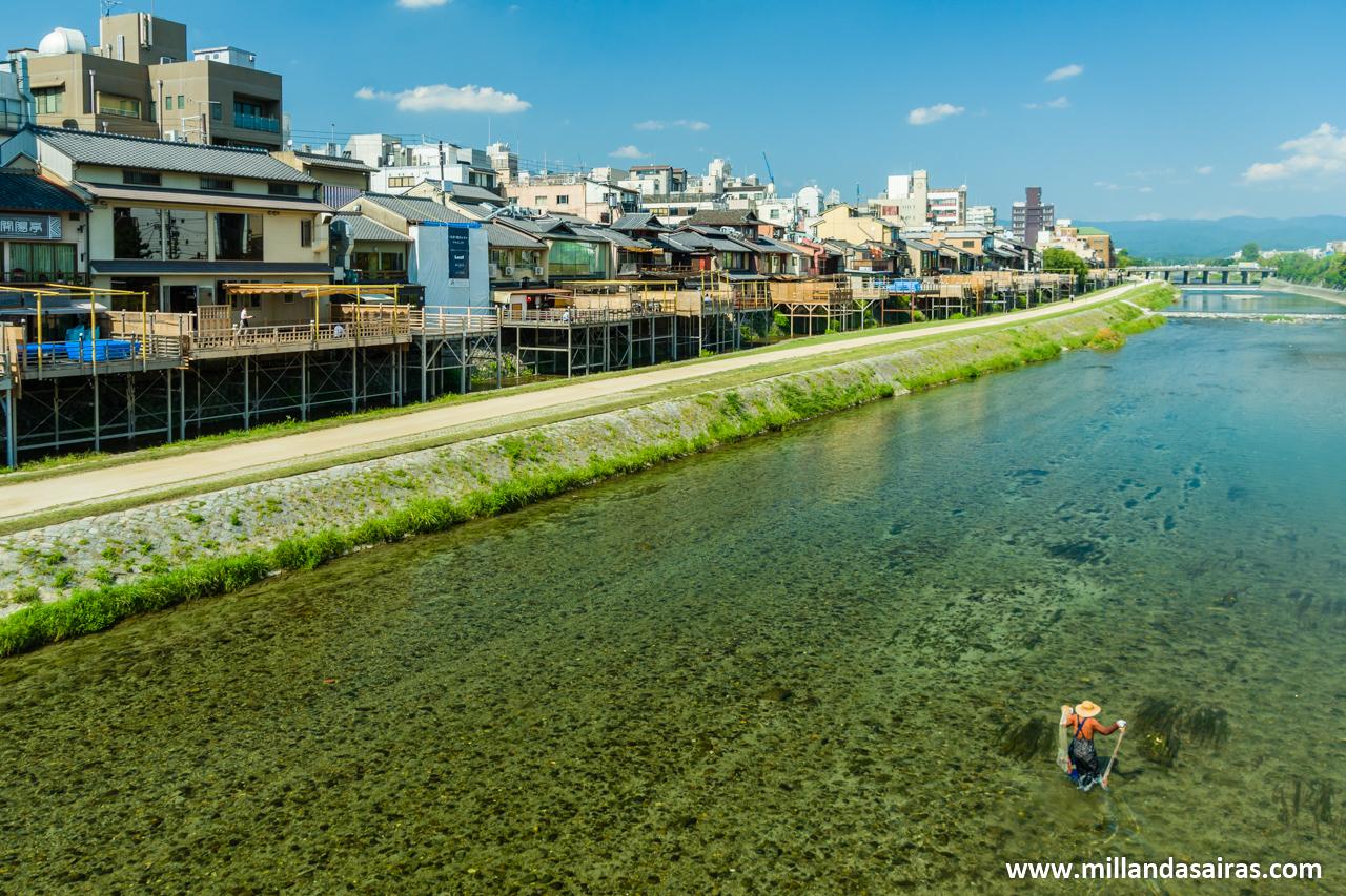 Rio Kamo a su paso frente al área de Pontocho, Kyoto