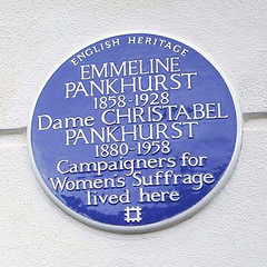 Photo of Emmeline Pankhurst and Christabel Pankhurst blue plaque
