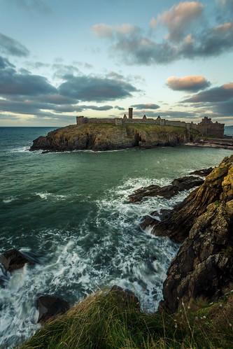 peel isleofman st patricks castle rocks seascape sea cruel cliffs aqua blue sunset ruins loveiom fenella beach longexposure
