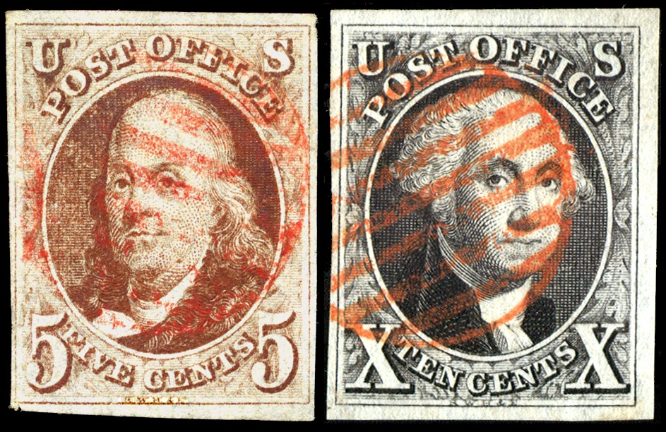 United States - Scott #1 and 2 (1847). Images from Wikipedia.