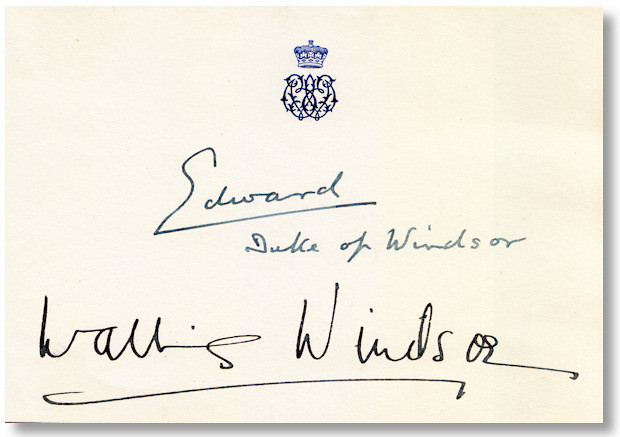Post-abdication calling card signed by the Duke and Duchess of Windsor