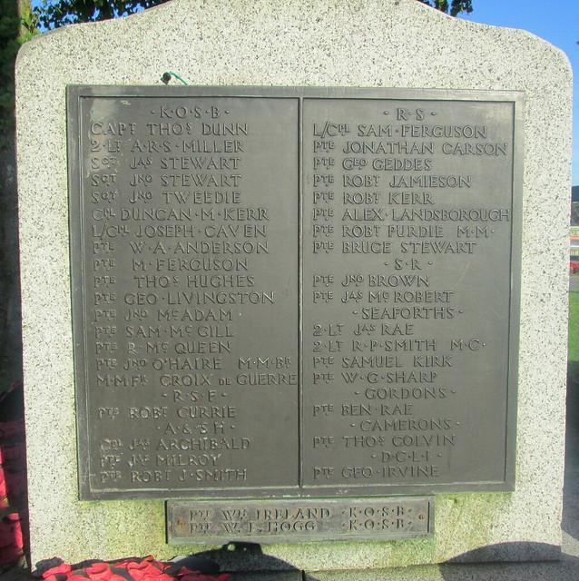 Castle Douglas War Memorial WW1 Names