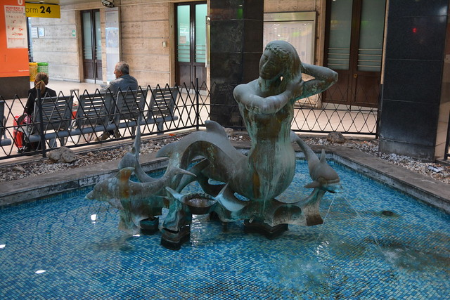 Naples, Italy - Mermaid Statue in Naples Central Station