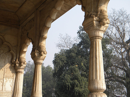 Marble Pillars in the Delhi Red Fort, India