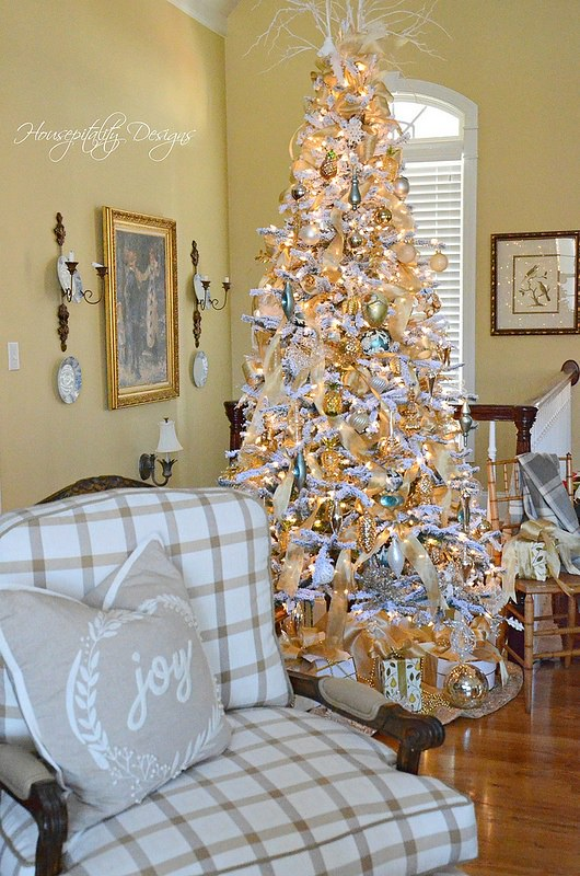 Flocked Christmas tree-Housepitality Designs