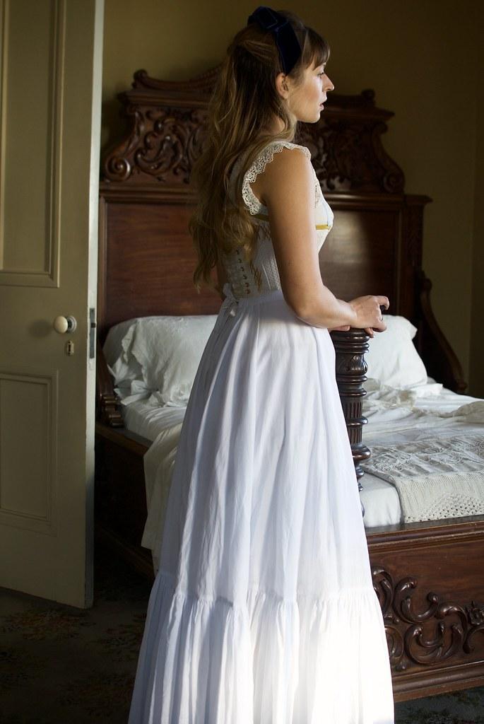Periwinkle Silk Dupioni 1890's Walking Dress