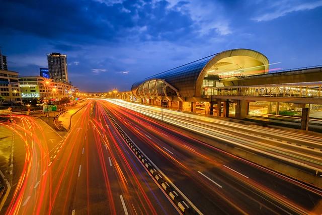 Light trails at Puchong MRT Station
