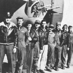 "The crew of Consolidated B-24D ""Lady Be Good"". Left to right: Hatton, Toner, Hays, Woravka, Ripslinger, LaMotte, Shelley, Moore, Adams."