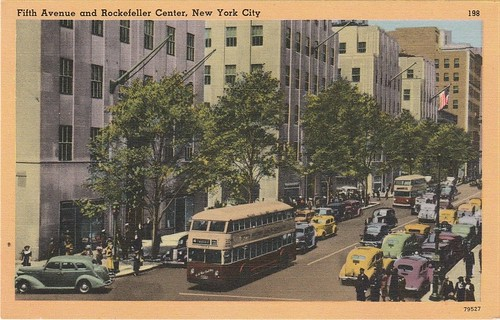 Vintage postcard showing double deck buses on Fifth Avenue in New York CIty