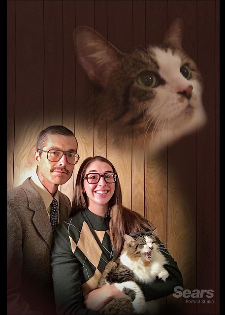My wife and I went retro for our Christmas card portrait this year. via /r/funny http://bit.ly/2AZmo7o