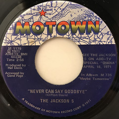 THE JACKSON 5:NEVER CAN SAY GOODBYE(LABEL SIDE-A)