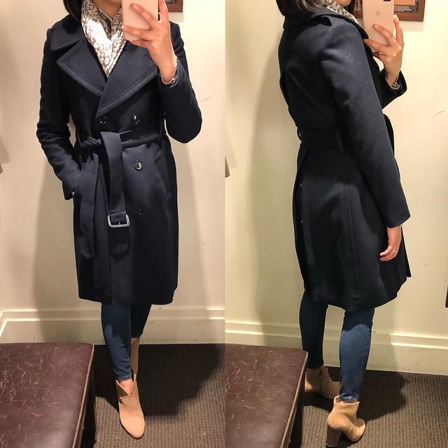 Italian Melton Wool Blend Long Coat, size XSP