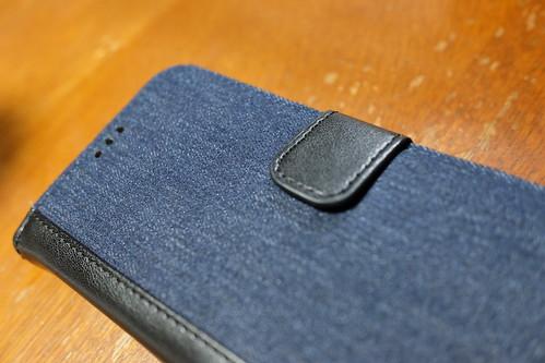 デニム×PUレザー iPhone X 専用 kuboq 手帳型ケース 01