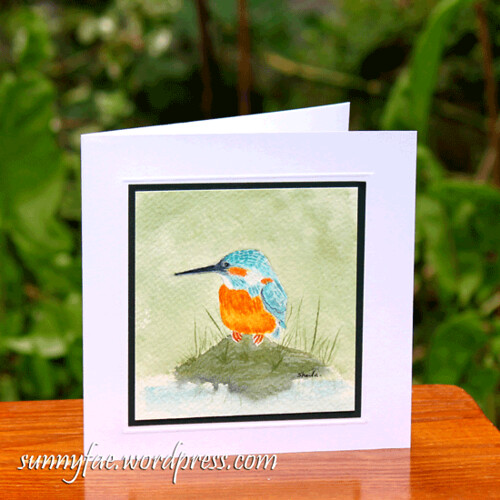 kingfisher watercolour card
