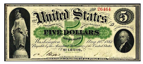 1861 $5 St. Louis Demand Note