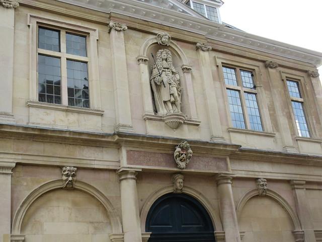 King Charles II in niche above main entrance, Custom House, King's Lynn, Norfolk