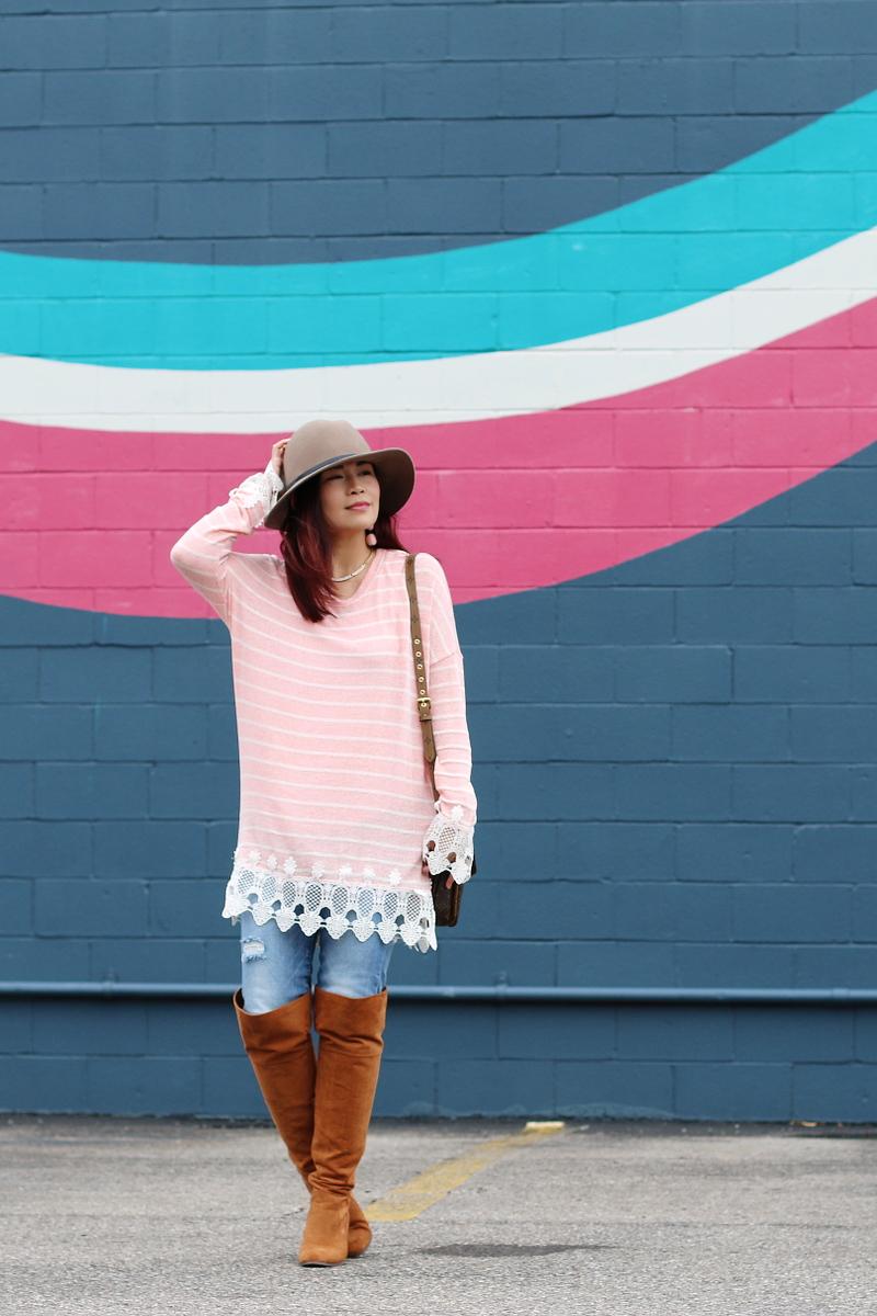 pink stripe sweater, OTK boots, Louis Vuitton Pochette Metis bag