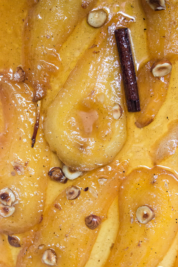 Roasted Pears in Thyme Honey, Lemon, Cinnamon & Vanilla Syrup