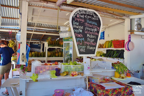 Caye Caulker Belize - lots of fresh fruit juice stalls on Caye Caulker island