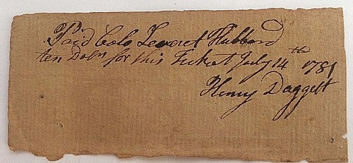 1780 New Haven Lottery ticket back