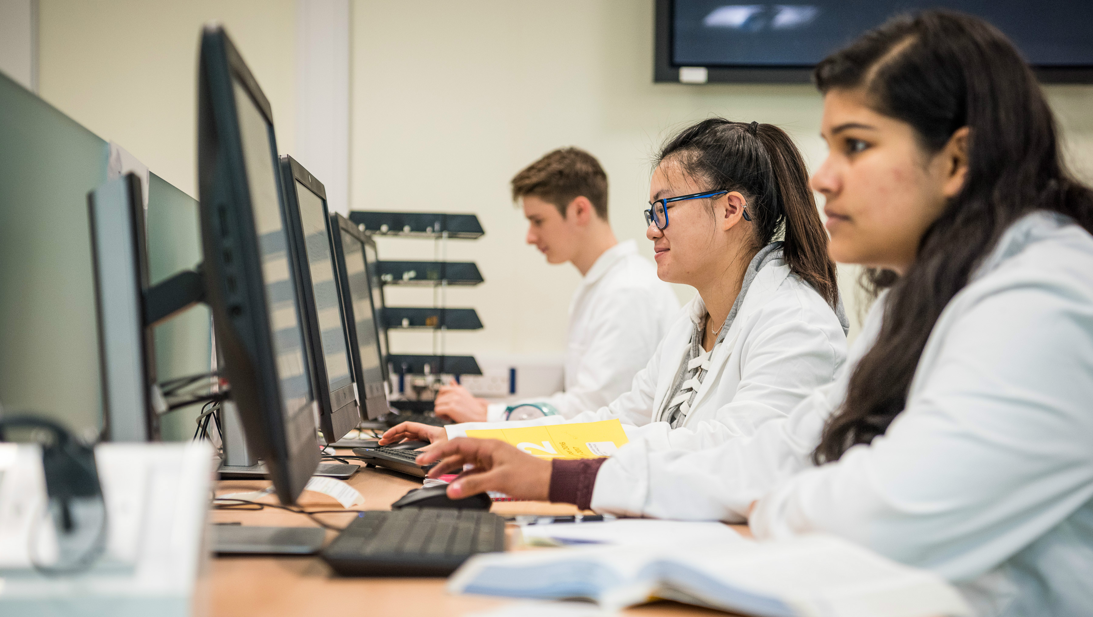 Students working in the Pharmacy Practice Suite at Bath