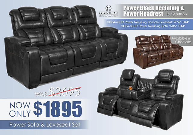 Corinthian Power Black Reclining Set_73904