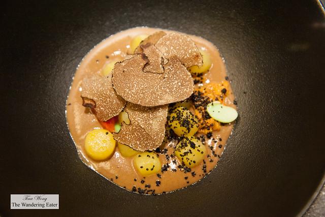 Gnocchi, black truffle, edamame and uni