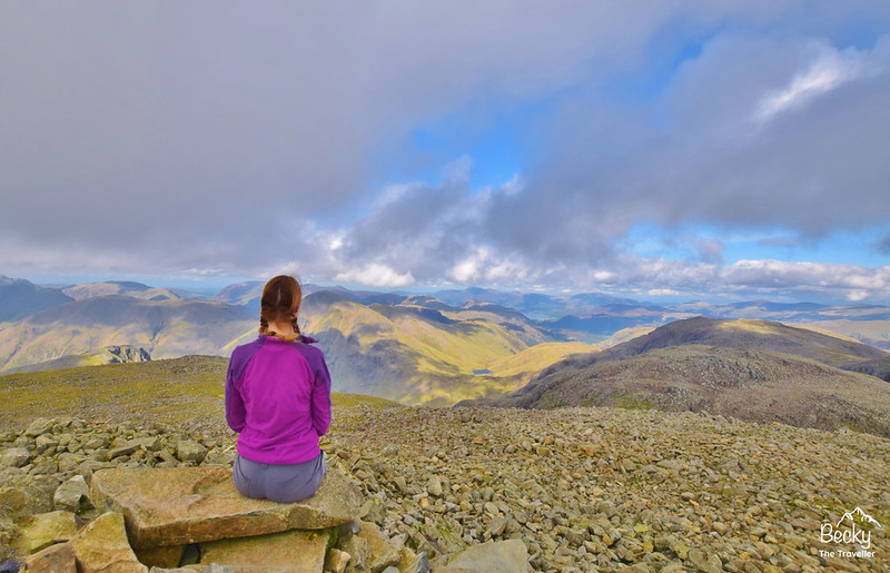 Scafell Pike walk, the summit Lake District