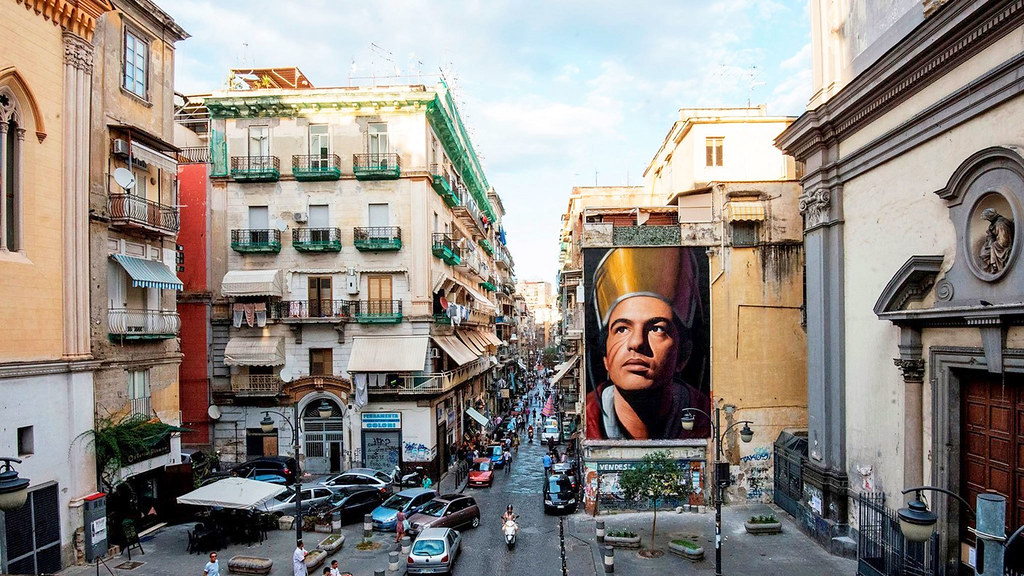 View of a large piece of street art in Naples