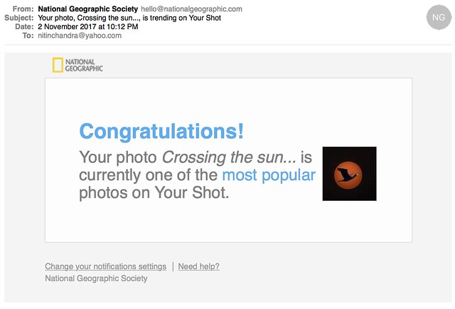 Your photo Crossing the sun is trending on Your Shot