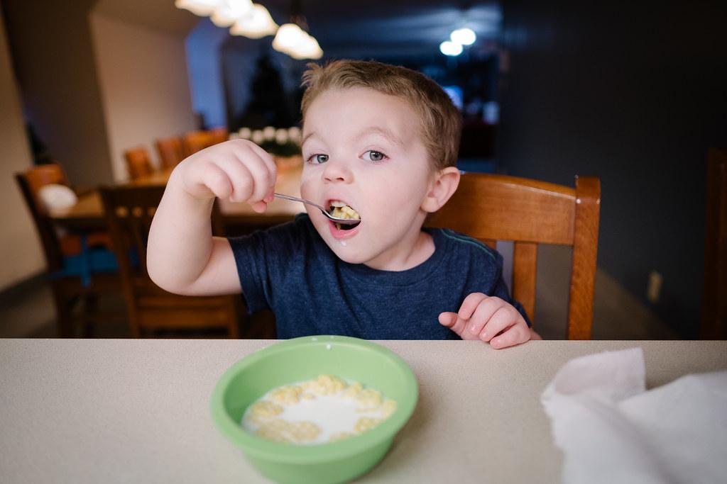 Ezra at breakfast