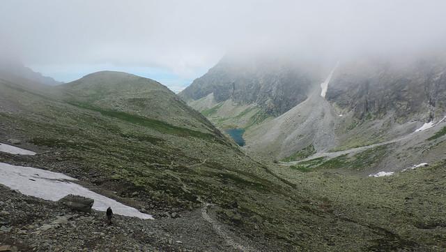 Dlhé pleso in the fog, High Tatras, Slovakia