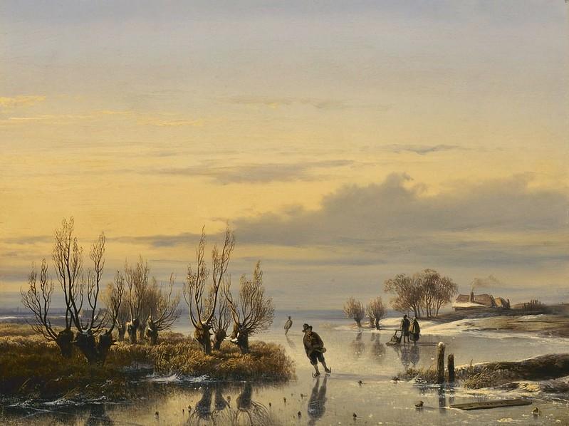 Cornelis Lieste - IJsgezicht bij zonsondergang