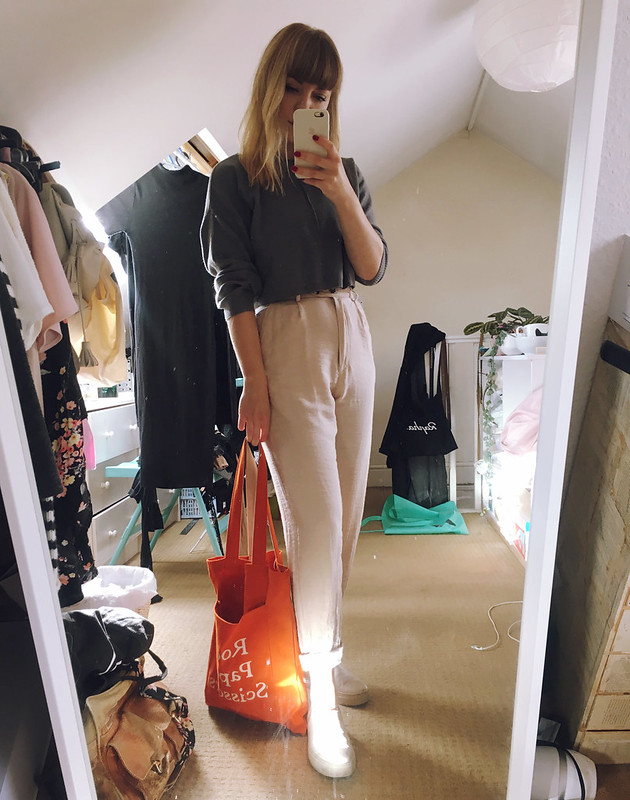 Autumn winter 2017 outfit lookbook lyzi unwin cropped jumper asos topshop trousers papersmiths tote bag