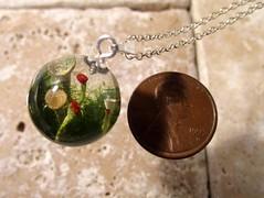 Lichen (Cladonia sp.) sphere pendant.