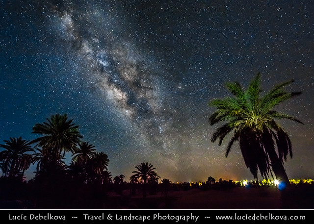 Morocco - Sahara Desert - Night sky full of stars with Milky way