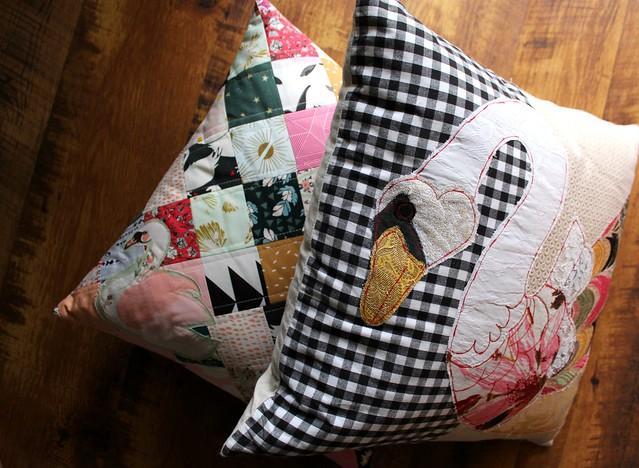 Swan Patchwork Pillow Set